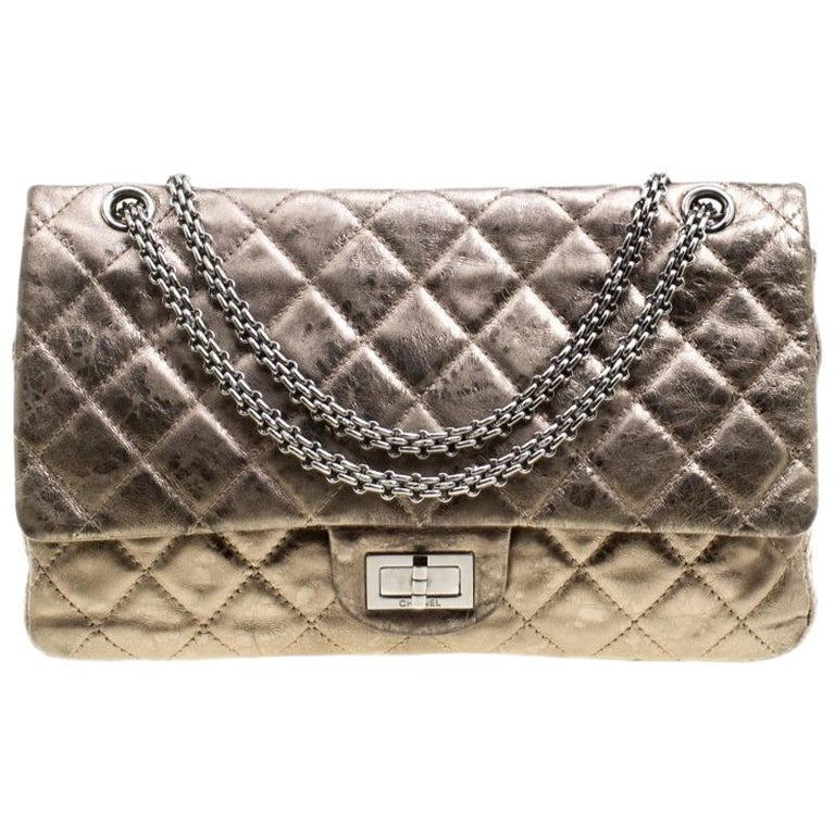 9e31c5874d1cb8 Chanel Silver Quilted Leather Reissue 2.55 Classic 227 Flap Bag For Sale