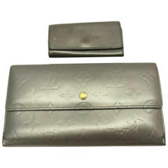 Louis Vuitton Slate Grey Monogram Vernis Mat Wallet and Key Case ( Wholesale Set