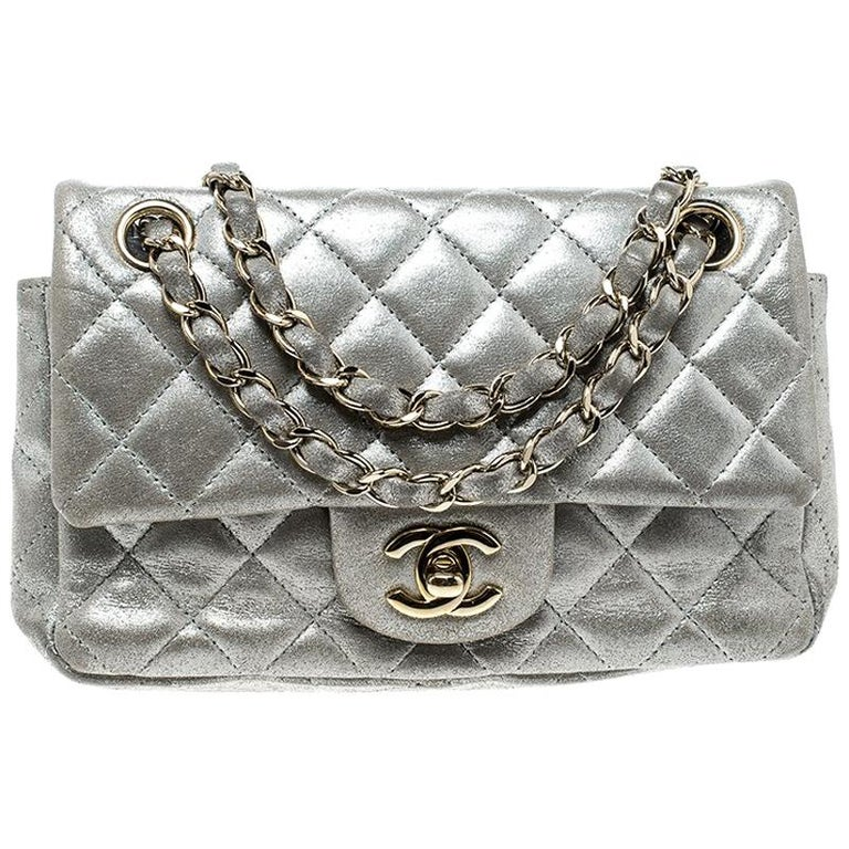5186cf0d4de22f Chanel Silver Quilted Leather New Mini Classic Single Flap Bag For Sale