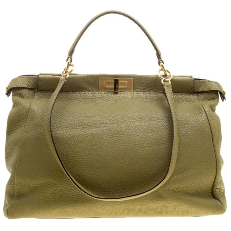 9a49c9e9b2db Fendi Green Selleria Leather Large Peekaboo Top Handle Bag For Sale at  1stdibs