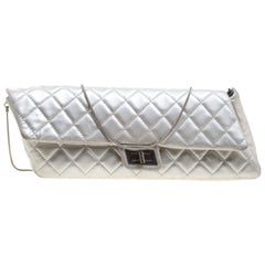 56f1e8e1a0f0fc Chanel Silver Quilted Leather Reissue Chain Clutch