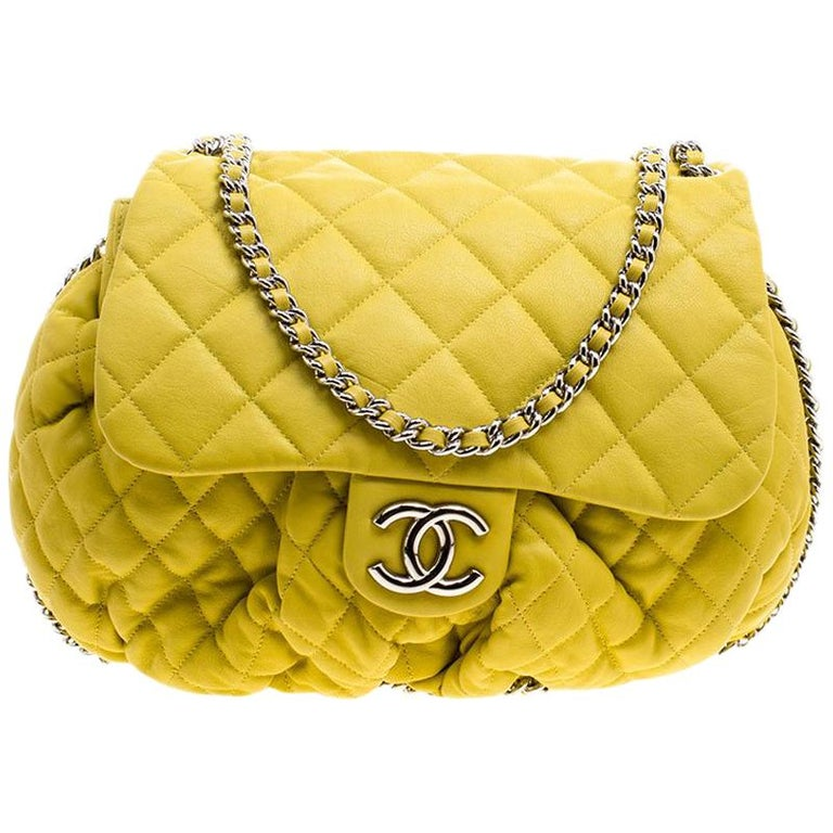 e8e360f46480 Chanel Yellow Quilted Leather Chain Around Shoulder Bag For Sale at ...