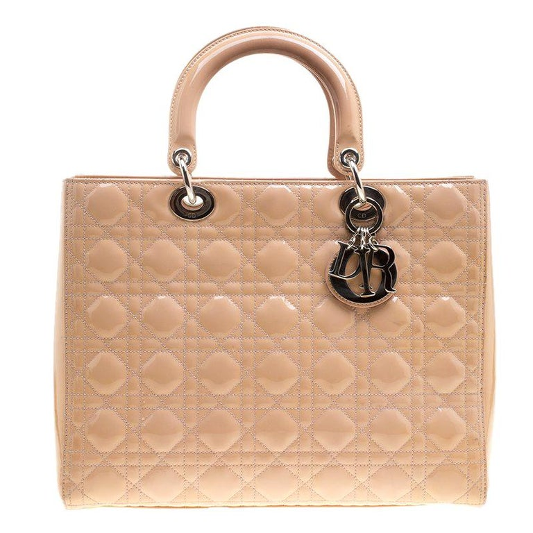 Dior Light Brown Patent Leather Large Lady Dior Tote For Sale at 1stdibs e4d627d32ebb5