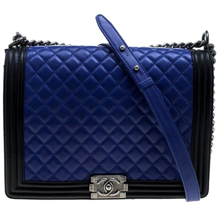 9f07d89d754e80 Chanel Blue/Black Quilted Leather Large Boy Flap Bag For Sale at 1stdibs