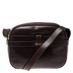 Celine Dark Burgundy Leather Vintage Crossbody Bag