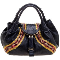 Fendi Dark Blue Leather Embroidered Limited Edition Spy Bag