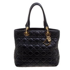 Dior Black Quilted Soft Leather Lady Dior Tote