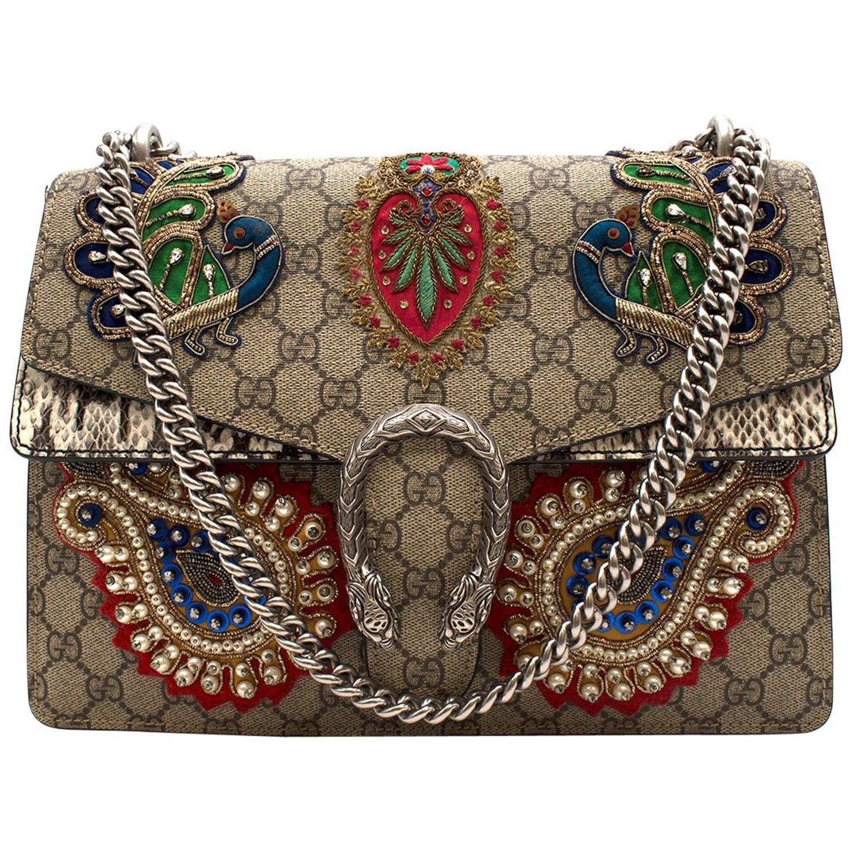 4bea56985ea4 GUCCI GG Supreme Monogram Embroidered Dionysus Bag at 1stdibs