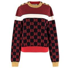 Gucci Metallic Trimmed Logo Intarsia Cotton Sweater US 8