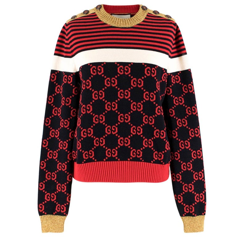 3a1bb920cbe Gucci Metallic Trimmed Logo Intarsia Cotton Sweater US 8 For Sale at ...