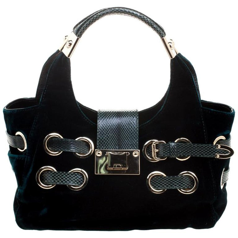 4bbcfa334f Jimmy Choo Emerald Green Velvet Ramona Shoulder Bag For Sale at 1stdibs