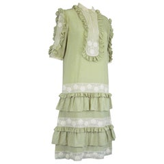 Chloe by Karl Lagerfeld 1970s Vintage Pastel Green Ruffled Silk & Lace Dress