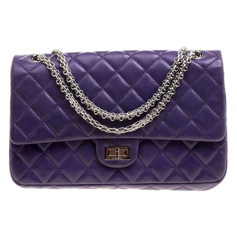 c715f6b76c85 Chanel Purple Quilted Leather Reissue 2.55 Classic 226 Flap Bag For Sale at  1stdibs