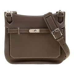 Hermes Etain Taurillon Clemence Leather Jypsiere 28 Bag