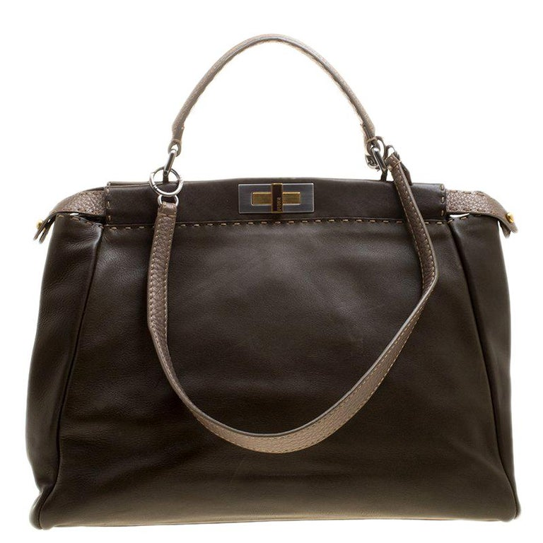 Fendi Fatigue Green Selleria Leather Large Peekaboo Top Handle Bag For Sale 7f06315fee17b