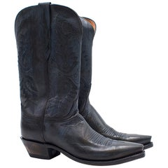 Lucchese Bootmaker Pointed Blue Leather Western Boots US 8.5