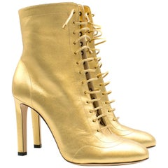 Jimmy Choo Gold Daize Metallic Leather Ankle Boots US 9.5