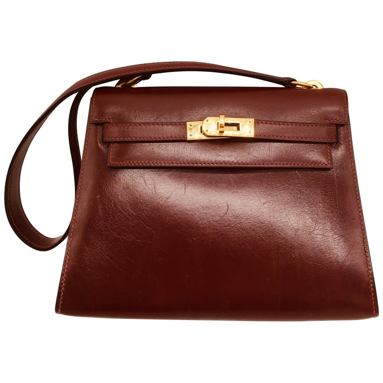 Hermes vintage Kelly 20cm Rouge H in Box leather For Sale
