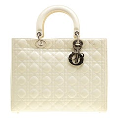 Dior Cream Patent Leather Large Lady Dior Tote