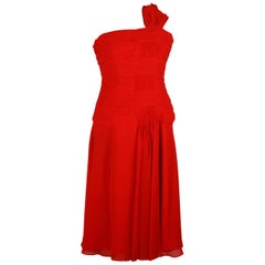 Carlo Pignatelli Red Chiffon One Shoulder Midi Dress Size 42