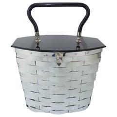 Dorset Rex 1950's Silver Metal Basket Handbag With Black Lid