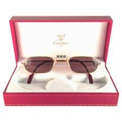 Mint Vintage Cartier Louis Santos Demi Lune 50mm Reading Gold Plated Sunglasses