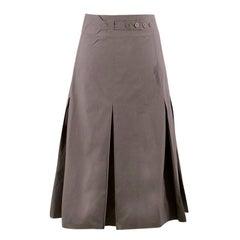 Bottega Veneta Grey Pleated Maxi Skirt US 00