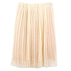 Prada Yellow Silk Pleated Skirt Current Collection US 2/4