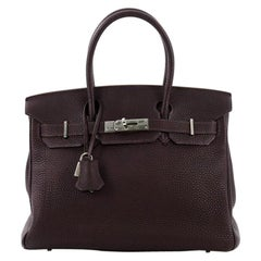 Hermes Birkin Handbag Raisin Togo with Palladium Hardware 30