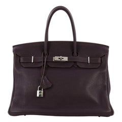 Hermes Birkin Handbag Raisin Clemence with Palladium Hardware 35