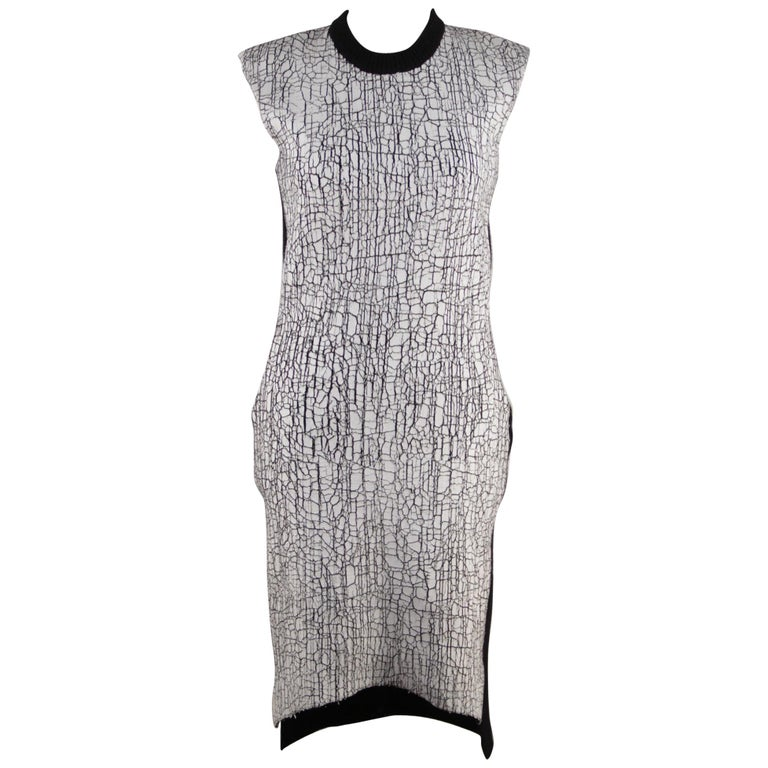 e19908c788 Balenciaga Wool Blend Crackled White Paint Knit Dress Size 38 For Sale