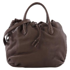 Bottega Veneta Convertible Drawstring Tote Leather with Intrecciato Detail Mediu