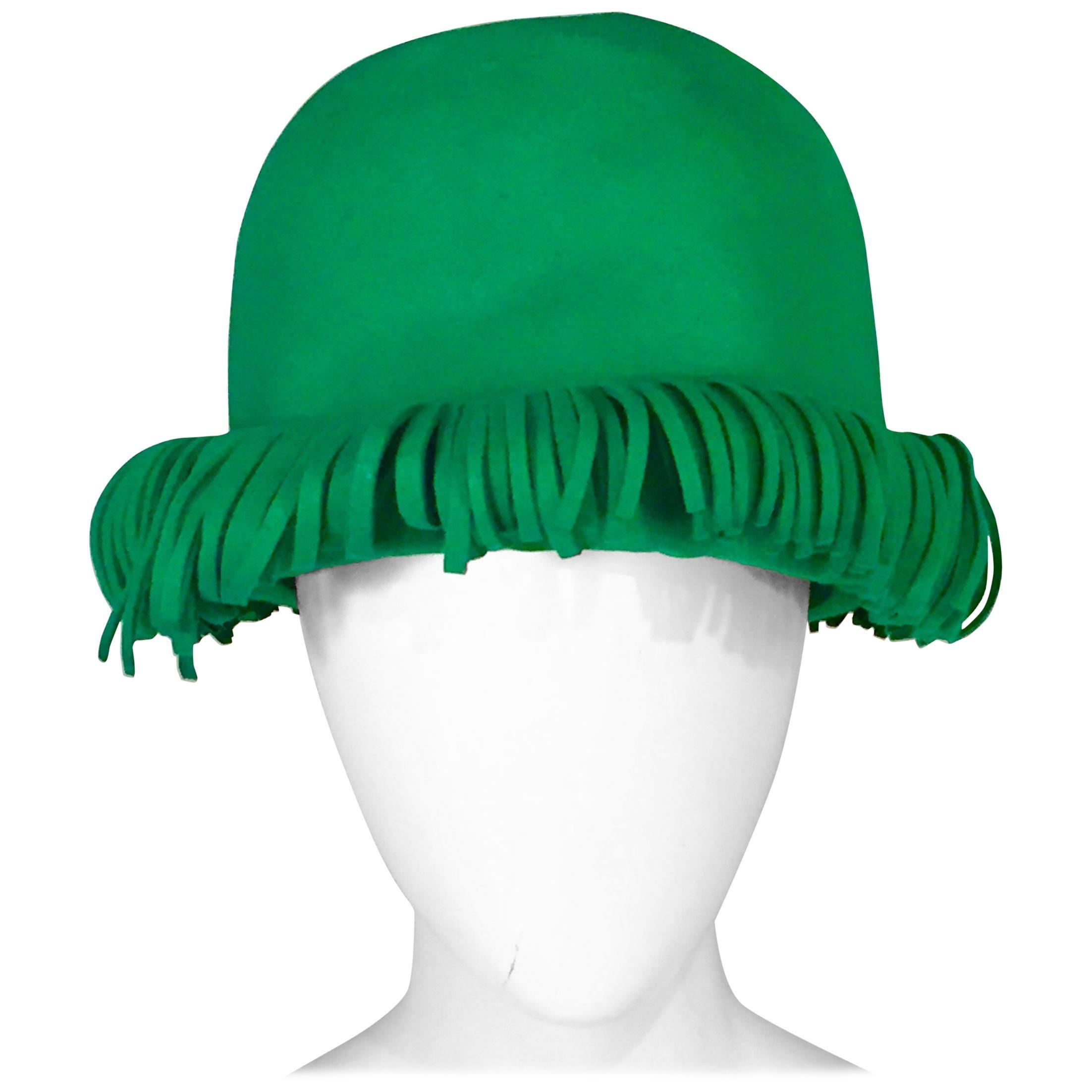 Bill Cunningham William J. Bright Green Wool Felt Hat with Fringe
