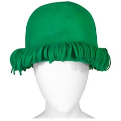 Bill Cunningham William J. Bright Green Wool Felt Hat with Fringe