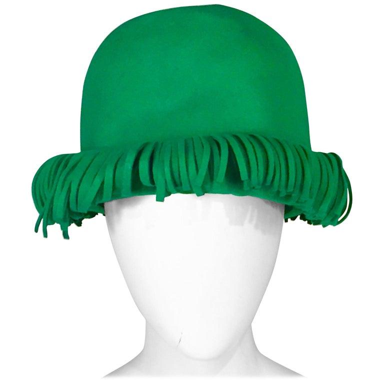 Bill Cunningham William J. Bright Green Wool Felt Hat with Fringe For Sale