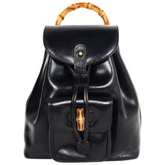 Gucci Vintage Black Pigskin Mini Bamboo Backpack Bag