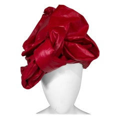 Bill Cunningham William J. Red Leather Turban Style Hat