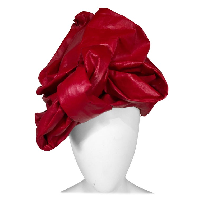 Bill Cunningham William J. Red Leather Turban Style Hat For Sale