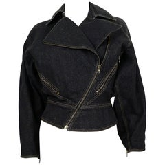 Azzedine Alaia Vintage Denim Zipper Jacket US Size 6