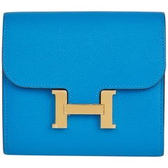2018 Hermes Blue Hydra Evercolor Leather Constance Compact Wallet