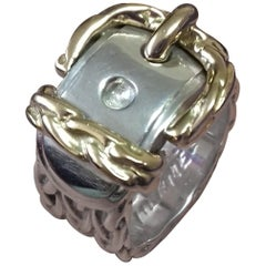 Hermès Belt Buckle Ring in Silver and Gold Size 50 / 6