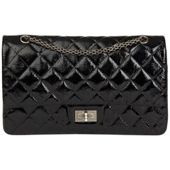2010 Chanel Black Quilted Aged Patent Leather 2.55 Reissue 227 Double Flap  Bag 5d366cfa67653