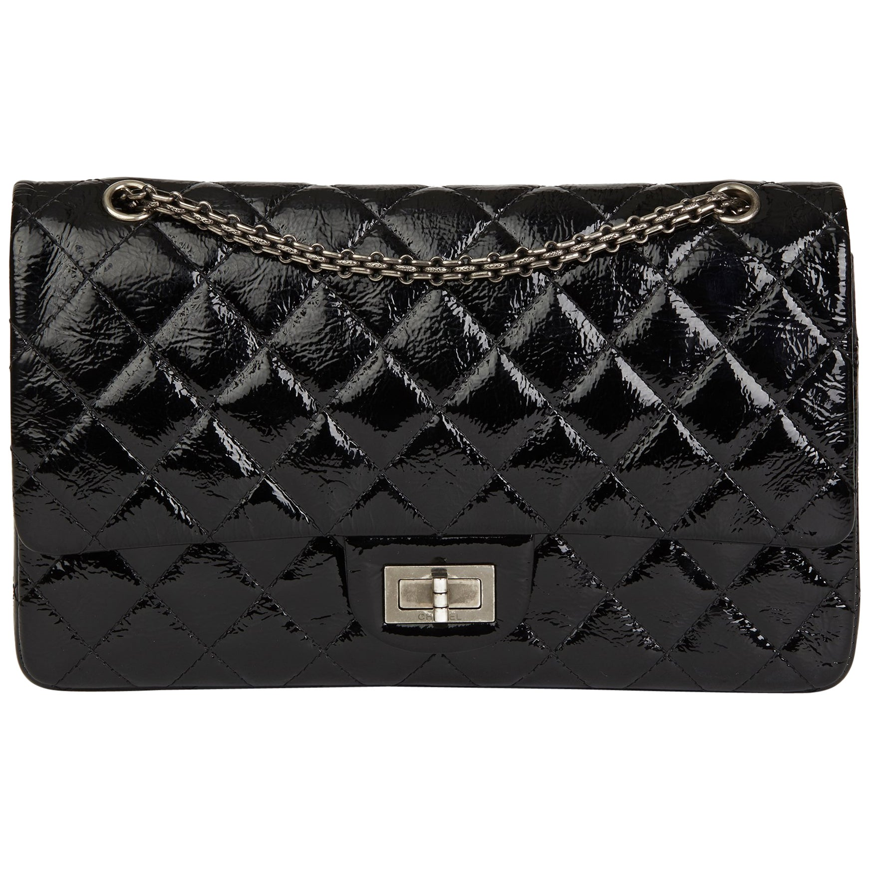f6a4a338e2ae81 2010 Chanel Black Quilted Aged Patent Leather 2.55 Reissue 227 Double Flap  Bag at 1stdibs