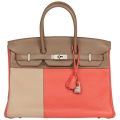 2012 Hermes Rose Jaipur Clemence Leather, Etoupe & Argile Swift Leather Cascade
