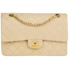1986 Chanel Beige Quilted Lambskin Vintage Classic Double Flap Bag