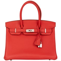 2015 Hermes Rouge Tomate Clemence Leather Birkin 30cm