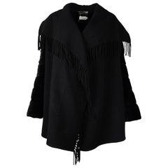 Moncler Black Wool/Velvet Mantella Fringed Shawl Quilted-Sleeve Jacket Sz L