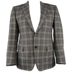 CANALI Size 38 Regular Grey Plaid Wool / Cashmere Notch Lapel Sport Coat