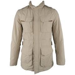 RALPH LAUREN S Khaki Solid Nylon Zip & Snaps Jacket
