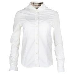 Burberry White Cotton Blouse W/ Tartan Interior Trim Sz 4